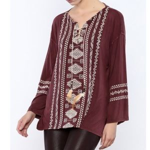 POL Distressed BOHO Embroidered Feather Tunic